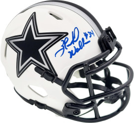 Herschel Walker Autographed Dallas Cowboys Lunar Eclipse White Speed Mini Helmet Beckett BAS QR Stock #193846