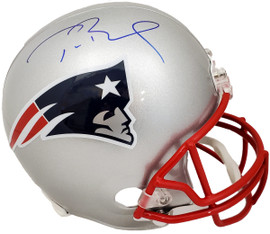 Tom Brady Autographed New England Patriots Silver Full Size Replica Helmet Fanatics Stock #193851