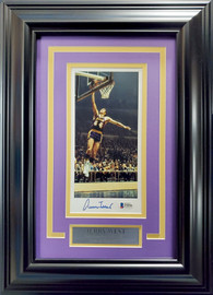 Jerry West Autographed Framed 4x9 Photo Los Angeles Lakers Beckett BAS Stock #193869