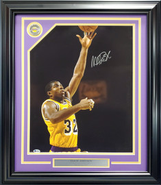 Magic Johnson Autographed Framed 16x20 Photo Los Angeles Lakers With Coin Emblem Beckett BAS Stock #193876