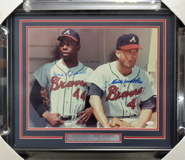 Hank Aaron & Eddie Mathews Autographed Framed 16x20 Photo Atlanta Braves JSA #JJ31574