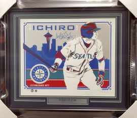 "Ichiro Suzuki Autographed Framed 16x20 Topps Poster Seattle Mariners ""#51"" Artist Proof #13/250 IS Holo SKU #193883"