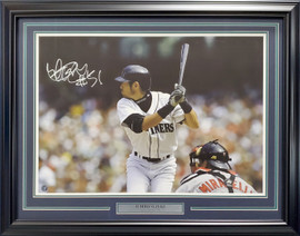 "Ichiro Suzuki Autographed Framed 20x28 Photo Seattle Mariners ""#51"" IS Holo SKU #193886"