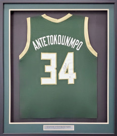 Milwaukee Bucks Giannis Antetokounmpo Autographed Framed Green Jersey Beckett BAS Stock #193889