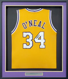 Los Angeles Lakers Shaquille Shaq O'Neal Autographed Framed Yellow Jersey Beckett BAS Stock #193890
