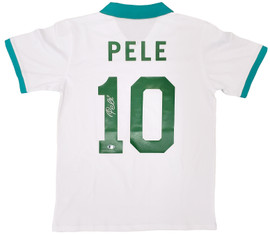 New York Cosmos Pele Autographed White Jersey Beckett BAS Stock #194364