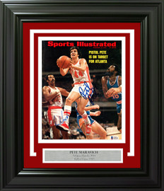 """Pistol Pete"" Maravich Autographed Framed Sports Illustrated Magazine Atlanta Hawks Beckett BAS #AA01241"