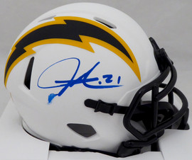 LaDainian Tomlinson Autographed San Diego Chargers Lunar Eclipse White Speed Mini Helmet (Smudged) Beckett BAS QR #WK09861
