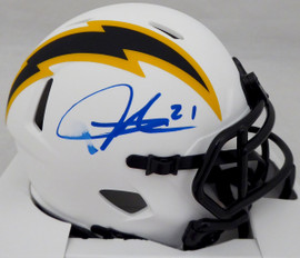 LaDainian Tomlinson Autographed San Diego Chargers Lunar Eclipse White Speed Mini Helmet (Smudged) Beckett BAS QR #WK09860