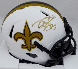 Drew Brees Autographed New Orleans Saints Lunar Eclipse White Speed Mini Helmet (Smudged) Beckett BAS #WG57807