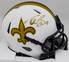 Drew Brees Autographed New Orleans Saints Lunar Eclipse White Speed Mini Helmet (Mark) Beckett BAS #WG57839