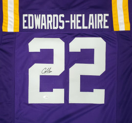 LSU Tigers Clyde Edwards-Helaire Autographed Purple Jersey Beckett BAS Stock #193943