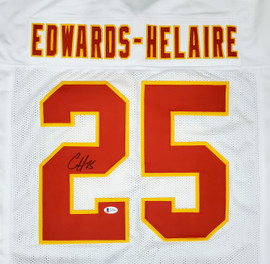 Kansas City Chiefs Clyde Edwards-Helaire Autographed White Jersey Beckett BAS Stock #193944