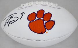 Travis Etienne Autographed Clemson Tigers White Logo Football Beckett BAS Stock #193985
