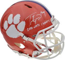 "Travis Etienne Autographed Clemson Tigers Orange Full Size Authentic Speed Helmet ""2018 Natl Champs!"" Beckett BAS Stock #193991"