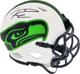 Russell Wilson Autographed Seattle Seahawks White Lunar Eclipse Speed Mini Helmet RW Holo & Beckett BAS Stock #194000