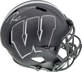 Russell Wilson Autographed Wisconsin Badgers Eclipse Black Full Size Speed Replica Helmet RW Holo & Beckett BAS Stock #194001