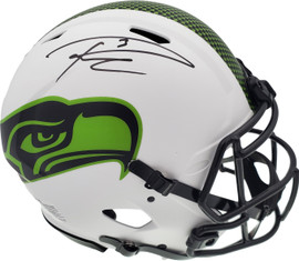 Russell Wilson Autographed Seattle Seahawks White Lunar Eclipse Full Size Authentic Speed Helmet RW Holo & Beckett BAS Stock #194030
