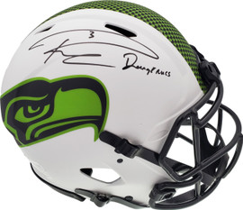"Russell Wilson Autographed Seattle Seahawks White Lunar Eclipse Full Size Authentic Speed Helmet ""Dangeruss"" RW Holo & Beckett BAS Stock #194032"