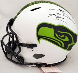Russell Wilson Autographed Seattle Seahawks Lunar Eclipse White Full Size Authentic Speed Helmet Signed Twice Beckett BAS & RW Holo #WE95281