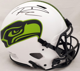 Russell Wilson Autographed Seattle Seahawks Lunar Eclipse White Full Size Authentic Speed Helmet Beckett BAS & RW Holo #WE95271