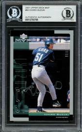 Ichiro Suzuki Autographed 2001 Upper Deck MVP Rookie Card #60 Seattle Mariners (Light) Beckett BAS #12783765