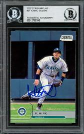 Ichiro Suzuki Autographed 2002 Topps Stadium Club Card #51 Seattle Mariners Beckett BAS Stock #194205