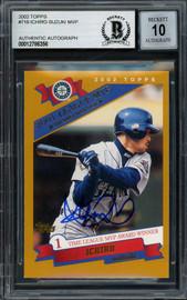 Ichiro Suzuki Autographed 2002 Topps Card #716 Seattle Mariners Auto Grade Gem Mint 10 Beckett BAS #12786356