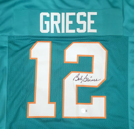 Miami Dolphins Bob Griese Autographed Teal Jersey Beckett BAS QR Stock #194357