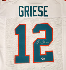 Miami Dolphins Bob Griese Autographed White Jersey Beckett BAS QR Stock #194358