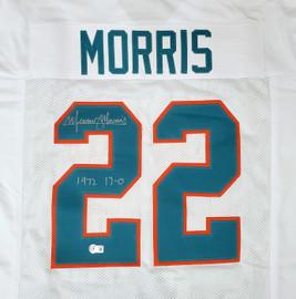 "Miami Dolphins Mercury Morris Autographed White Jersey ""1972 17-0"" Beckett BAS QR Stock #194359"