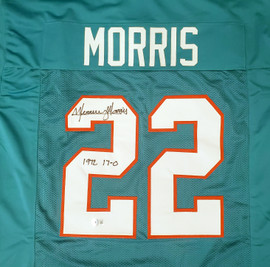 """Miami Dolphins Mercury Morris Autographed Teal Jersey """"1972 17-0"""" Beckett BAS QR Stock #194360"""