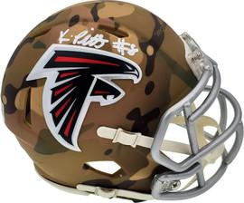 Kyle Pitts Autographed Atlanta Falcons Camo Speed Mini Helmet Beckett BAS QR Stock #194401