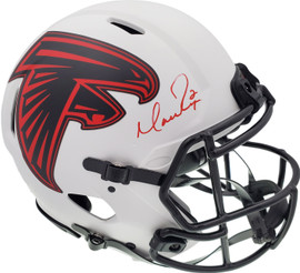 Matt Ryan Autographed Atlanta Falcons Lunar Eclipse White Full Size Authentic Speed Helmet Beckett BAS QR Stock #194405