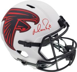 Matt Ryan Autographed Atlanta Falcons Lunar Eclipse White Full Size Replica Speed Helmet Beckett BAS QR Stock #194406