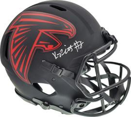 Kyle Pitts Autographed Atlanta Falcons Eclipse Black Full Size Authentic Speed Helmet Beckett BAS QR Stock #194412