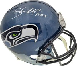 Shaun Alexander Autographed Seattle Seahawks Blue Full Size Replica Helmet Beckett BAS QR Stock #194418