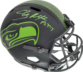 Shaun Alexander Autographed Seattle Seahawks Eclipse Black Full Size Replica Speed Helmet Beckett BAS QR Stock #194419