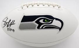 Shaun Alexander Autographed Seattle Seahawks White Logo Football Beckett BAS QR Stock #194427