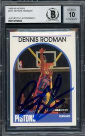 Dennis Rodman Autographed 1989-90 Hoops Card #211 Detroit Pistons Auto Grade Gem Mint 10 Blue Sharpie Beckett BAS Stock #194487