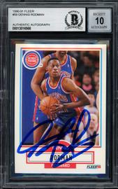 Dennis Rodman Autographed 1990-91 Fleer Card #59 Detroit Pistons Auto Grade Gem Mint 10 Beckett BAS Stock #194488