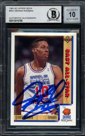Dennis Rodman Autographed 1991-92 Upper Deck Card #457 Detroit Pistons Auto Grade Gem Mint 10 Beckett BAS Stock #194504