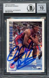 Dennis Rodman Autographed 1992-93 Hoops Card #66 Detroit Pistons Auto Grade Gem Mint 10 Beckett BAS Stock #194557