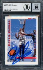 Dennis Rodman Autographed 1992-93 Hoops Card #302 Detroit Pistons Auto Grade Gem Mint 10 Beckett BAS Stock #194558