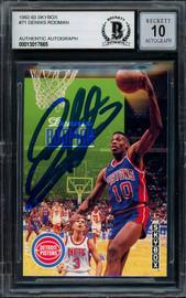 Dennis Rodman Autographed 1992-93 Skybox Card #71 Detroit Pistons Auto Grade Gem Mint 10 Beckett BAS #13017655