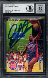 Dennis Rodman Autographed 1992-93 Skybox Card #71 Detroit Pistons Auto Grade Gem Mint 10 Beckett BAS #13017670