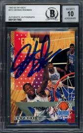 Dennis Rodman Autographed 1992-93 Skybox Card #312 Detroit Pistons Auto Grade Gem Mint 10 Beckett BAS Stock #194571