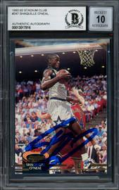 Shaquille Shaq O'Neal Autographed 1992-93 Stadium Club Rookie Card #247 Orlando Magic Auto Grade Gem Mint 10 Beckett BAS #13017816