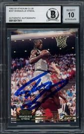 Shaquille Shaq O'Neal Autographed 1992-93 Stadium Club Rookie Card #247 Orlando Magic Auto Grade Gem Mint 10 Beckett BAS #13017811