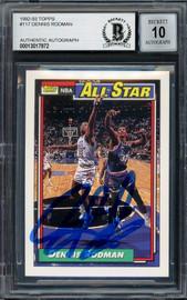 Dennis Rodman Autographed 1992-93 Topps Card #117 Detroit Pistons Auto Grade Gem Mint 10 Beckett BAS Stock #194590